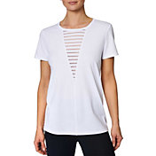 Betsey Johnson Women's Burnout Stripe Deep-V Insert T-Shirt