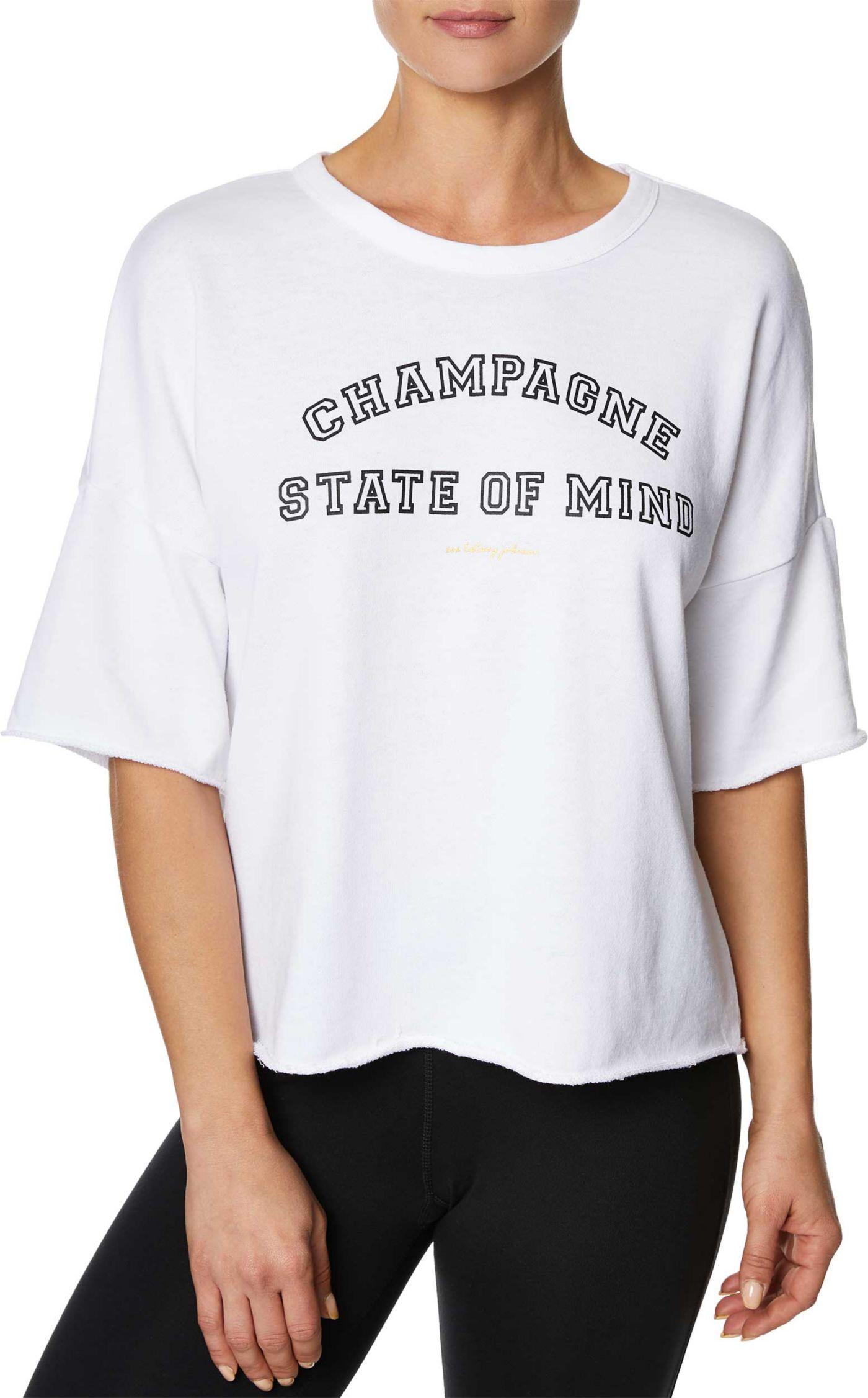 Betsey Johnson Women's Champagne State of Mind Boyfriend Crop Tee