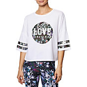Betsey Johnson Performance Women's Love Varsity Crop Boyfriend T-Shirt