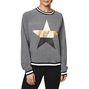 Betsey Johnson Women's Metallic Star Stripe Rib Pullover