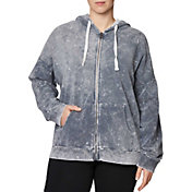 Betsey Johnson Women's Plus Size Bleach Wash Full-Zip Hoodie