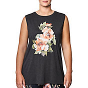Betsey Johnson Women's Plus Size Floral Wild Hi-Low Muscle Tank Top