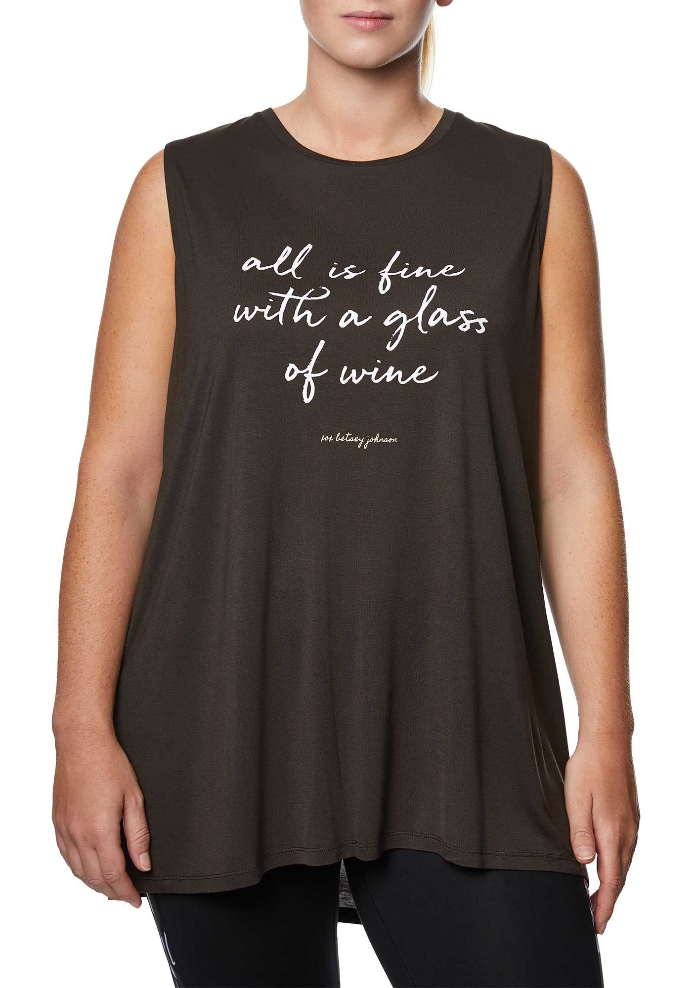 Betsey Johnson Performance Women's Plus Size All Is Fine Graphic Muscle Tank Top