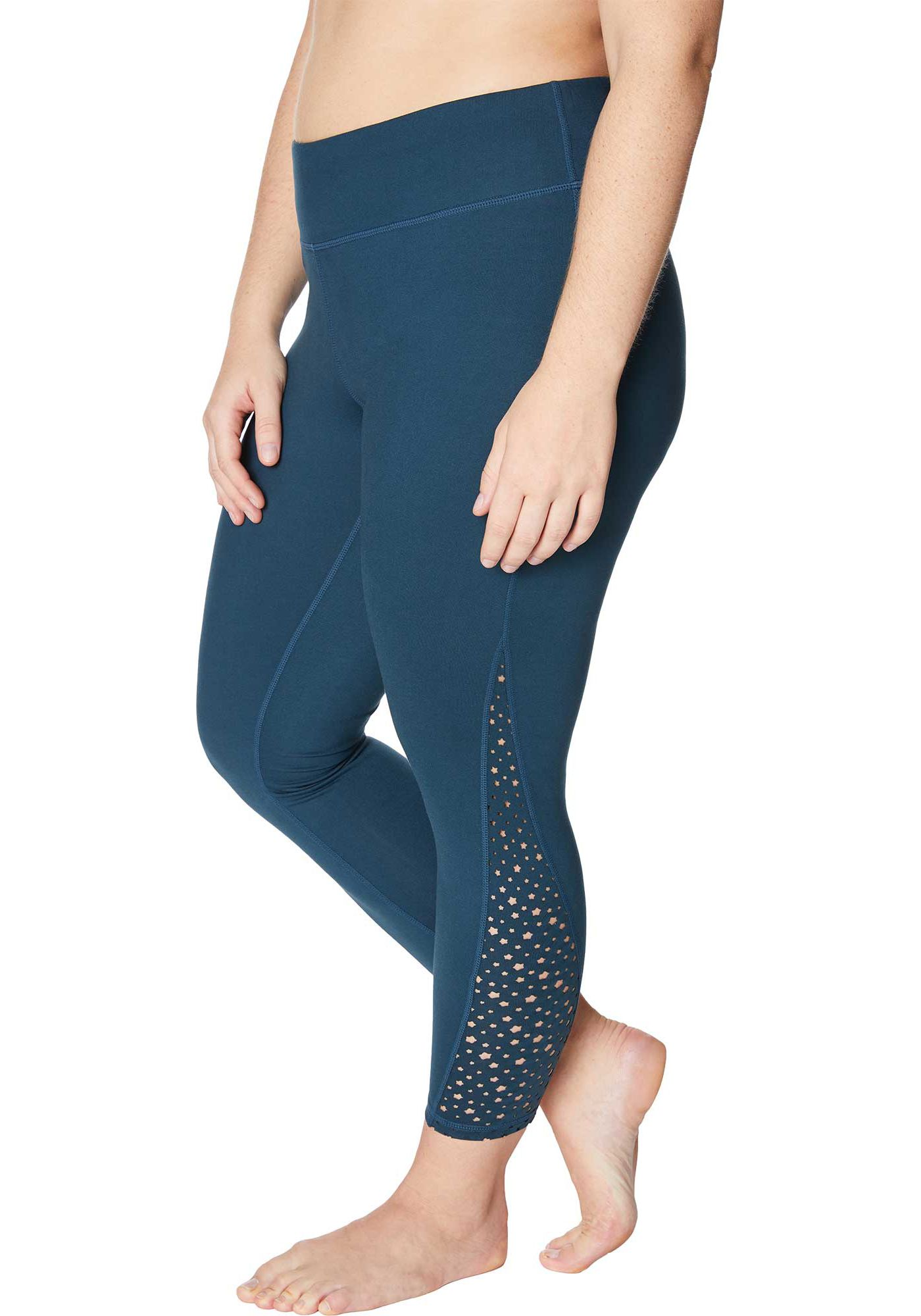 Betsey Johnson Women's Plus Size Laser Cut 7/8 Leggings
