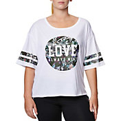 Betsey Johnson Performance Women's Plus Size Love Varsity Crop Boyfriend T-Shirt