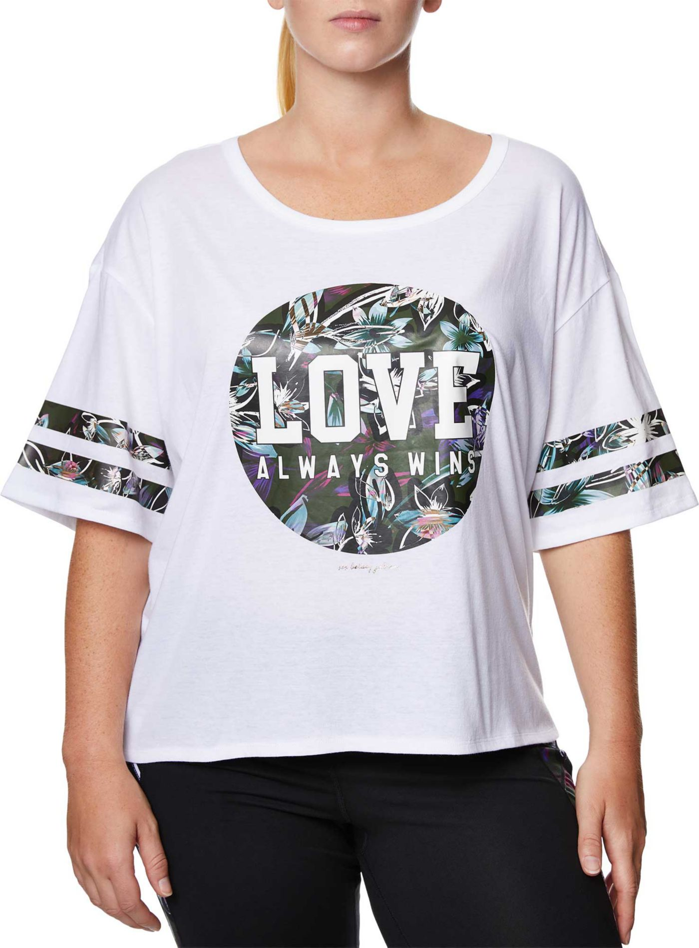 Betsey Johnson Performance Women's Plus Size Love Varsity Crop Boyfriend T-Shirt