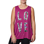 Betsey Johnson Performance Women's Plus Size Love Graffiti Floral Swing Tank Top