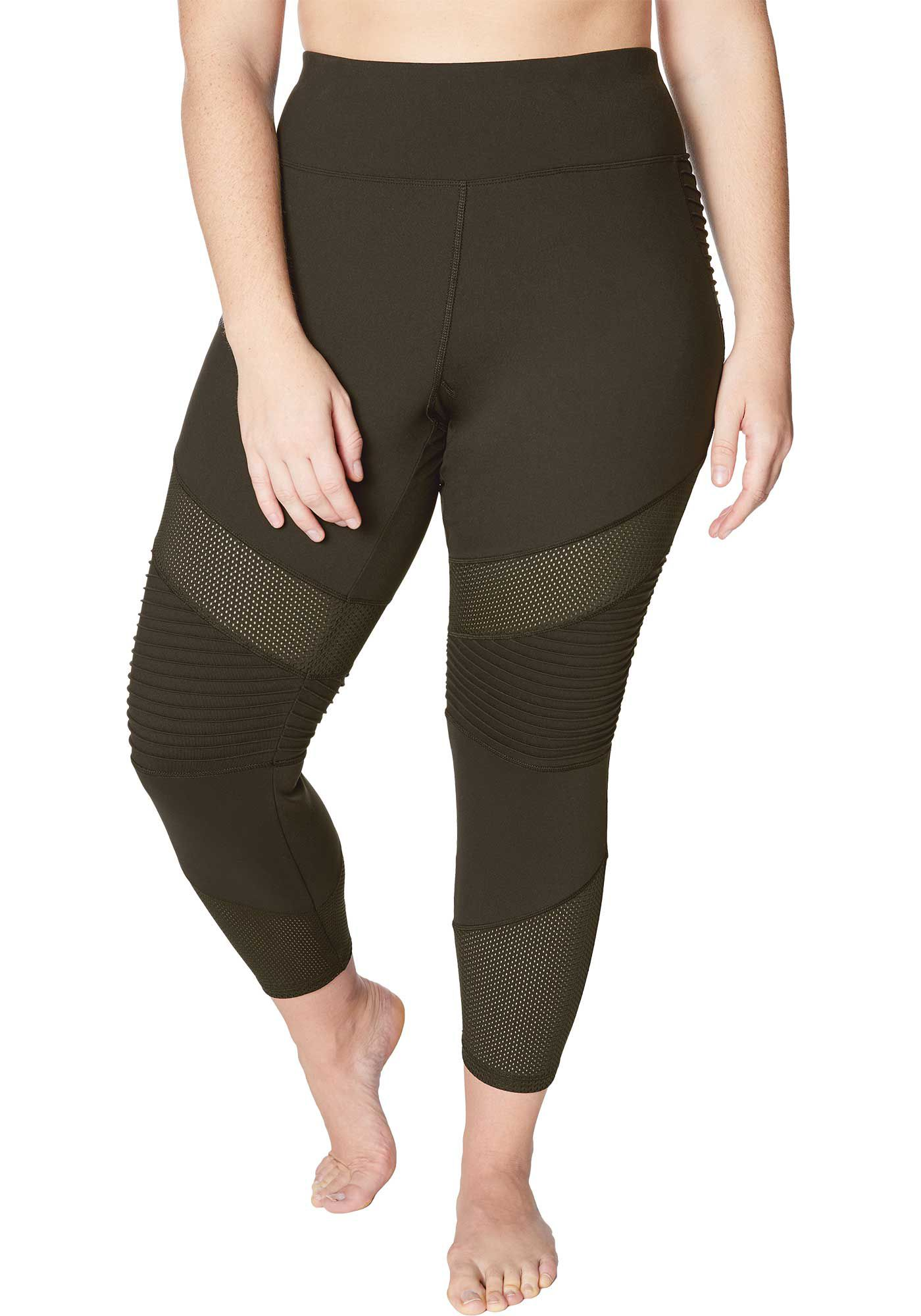 Betsey Johnson Performance Women's Plus Size Pintuck Mesh Panel 7/8 Leggings