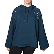 Betsey Johnson Women's Plus Size Pearl Stud Bell Sleeve Hoodie