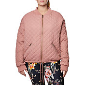 Betsey Johnson Women's Plus Size Quilted Reversible Bomber Jacket