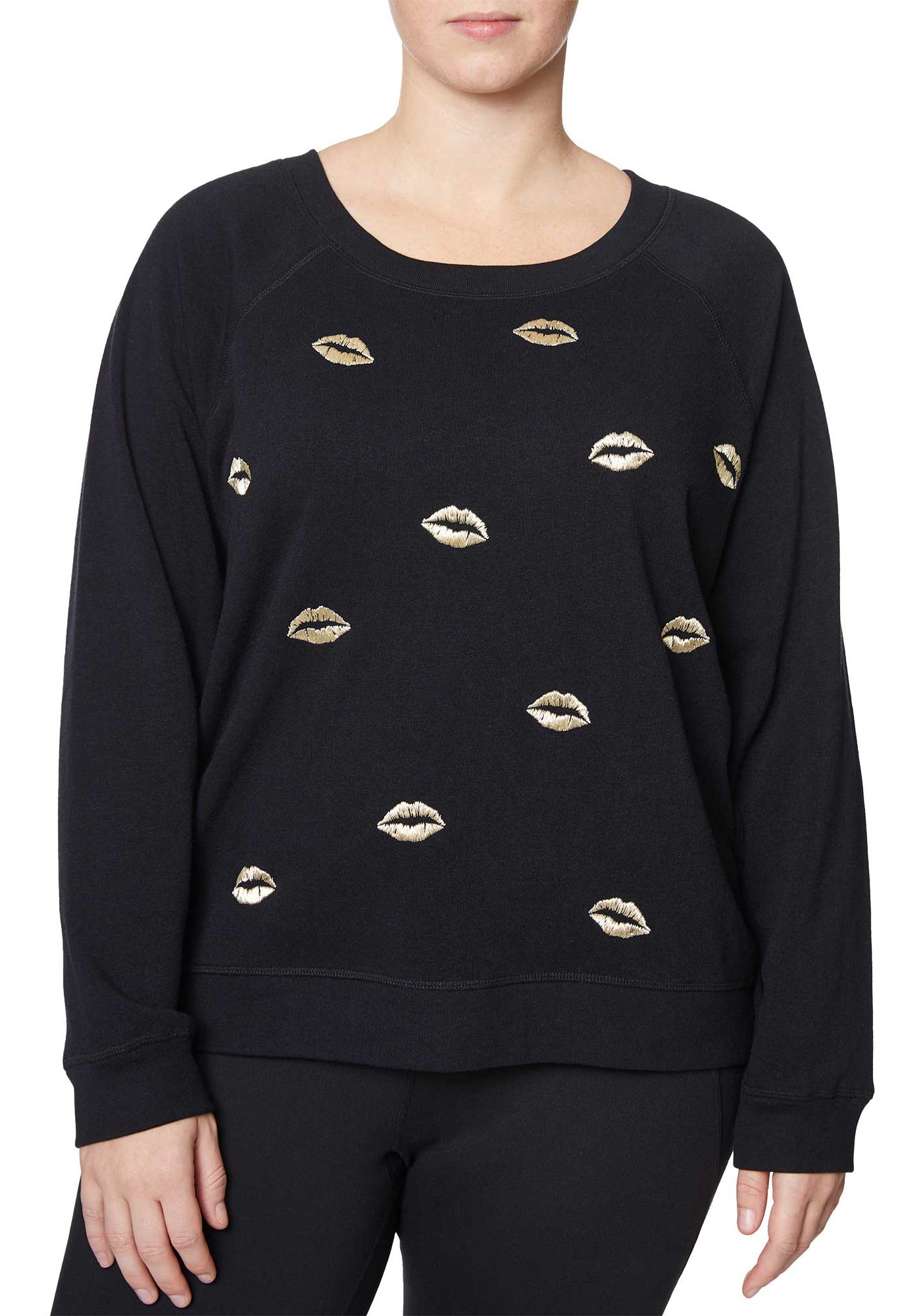 Betsey Johnson Women's Plus Size Scattered Lips Embroidered Pullover Hoodie