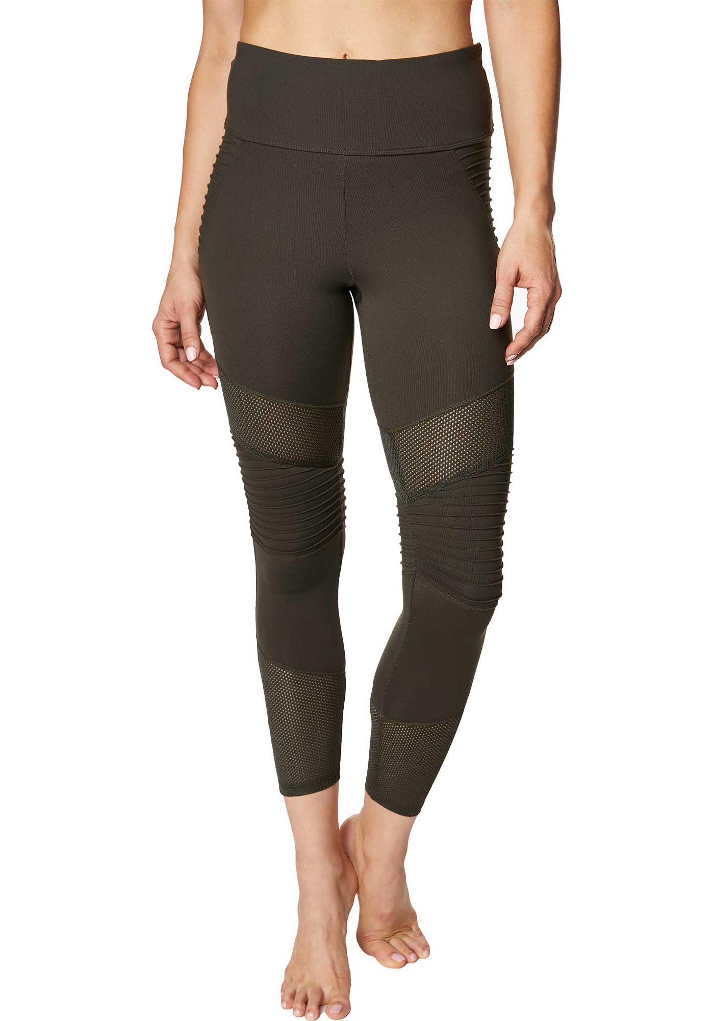 Betsey Johnson Performance Women's Pintuck Mesh Panel 7/8 Leggings