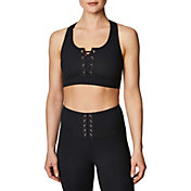 Betsey Johnson Women's Scoop Neck Lace-Up Sports Bra