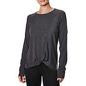 Betsey Johnson Women's Twisted Hem Acid Wash Long Sleeve Shirt