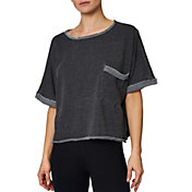 Betsey Johnson Women's Oversized Distressed Crop T-Shirt