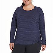 CALIA by Carrie Underwood Women's Plus Size Side Tie Long Sleeve Shirt