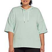 CALIA by Carrie Underwood Women's Plus Size Effortless Heather Short Sleeve Hoodie