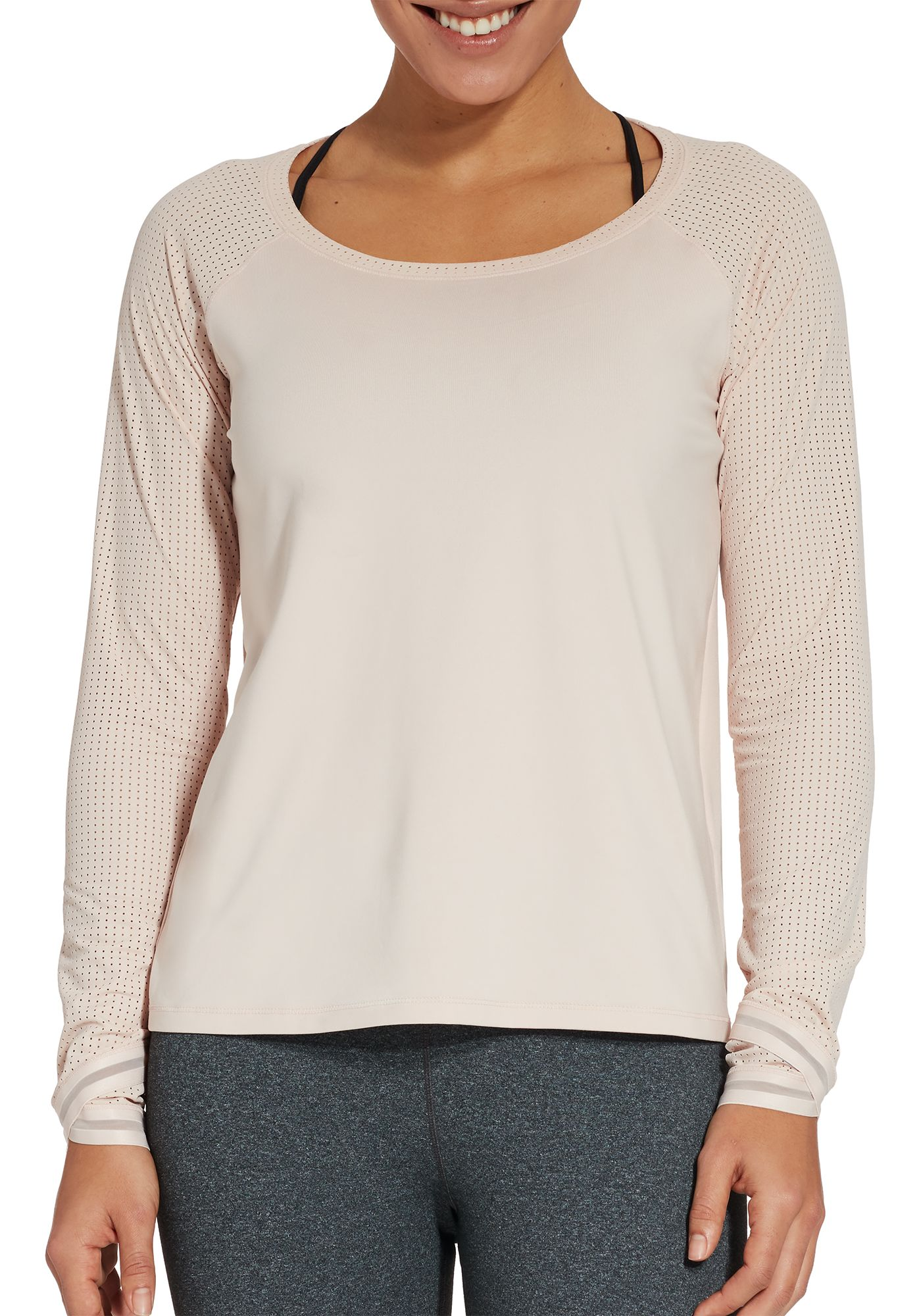 CALIA by Carrie Underwood Women's Move Mesh Sleeve Long Sleeve Shirt
