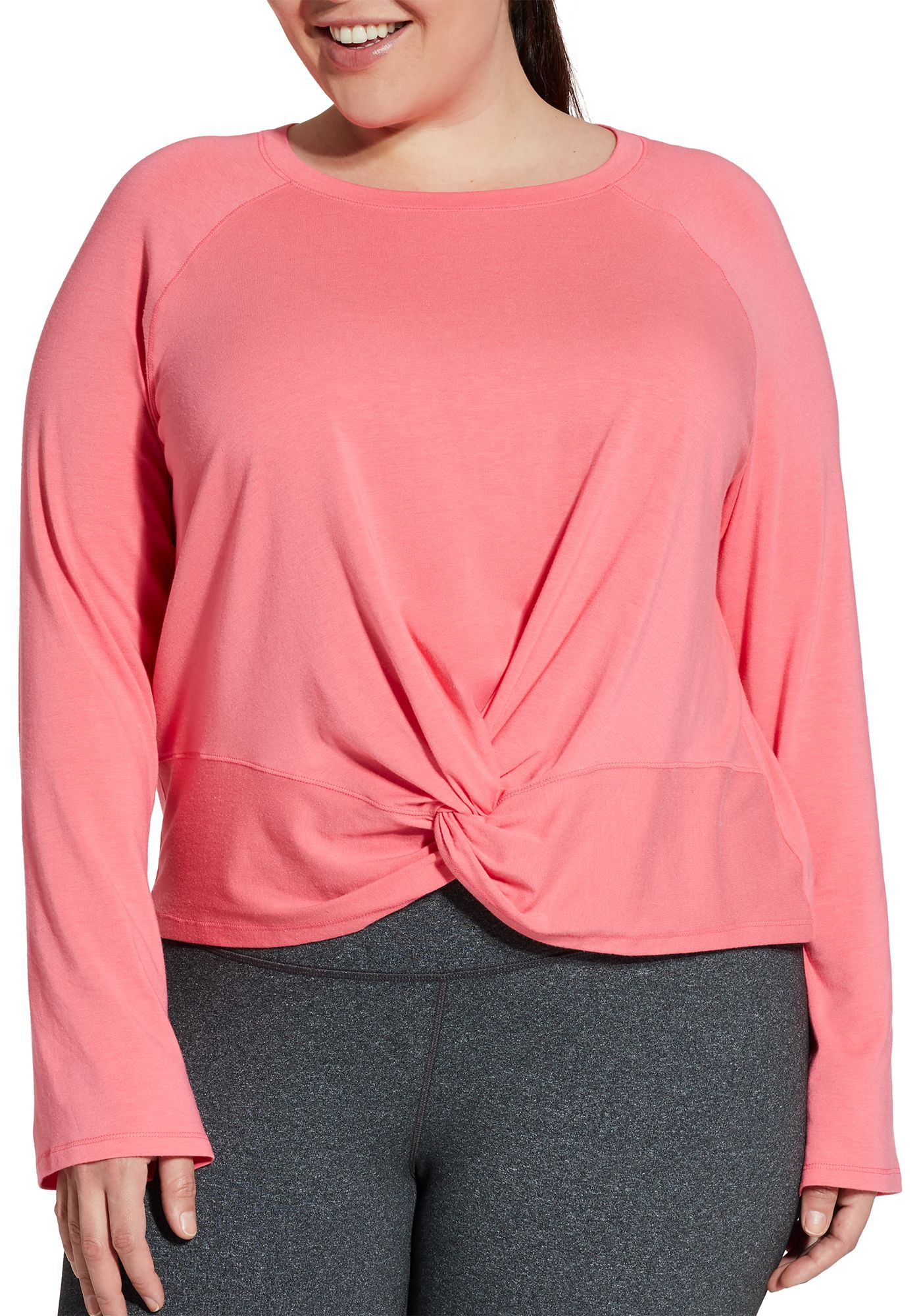 CALIA by Carrie Underwood Women's Plus Size Knot Front Long Sleeve Shirt