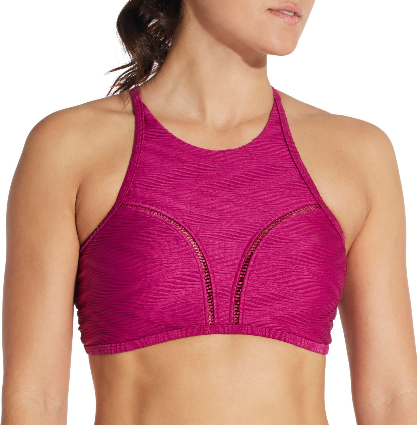 CALIA by Carrie Underwood Women's High Neck Ladder Trim Swim Top