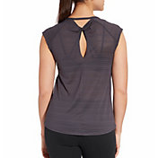 CALIA by Carrie Underwood Women's Move Printed Mesh Back Cap Sleeve T-Shirt