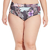 CALIA by Carrie Underwood Women's Plus Size Wide Banded Printed Bikini Bottoms