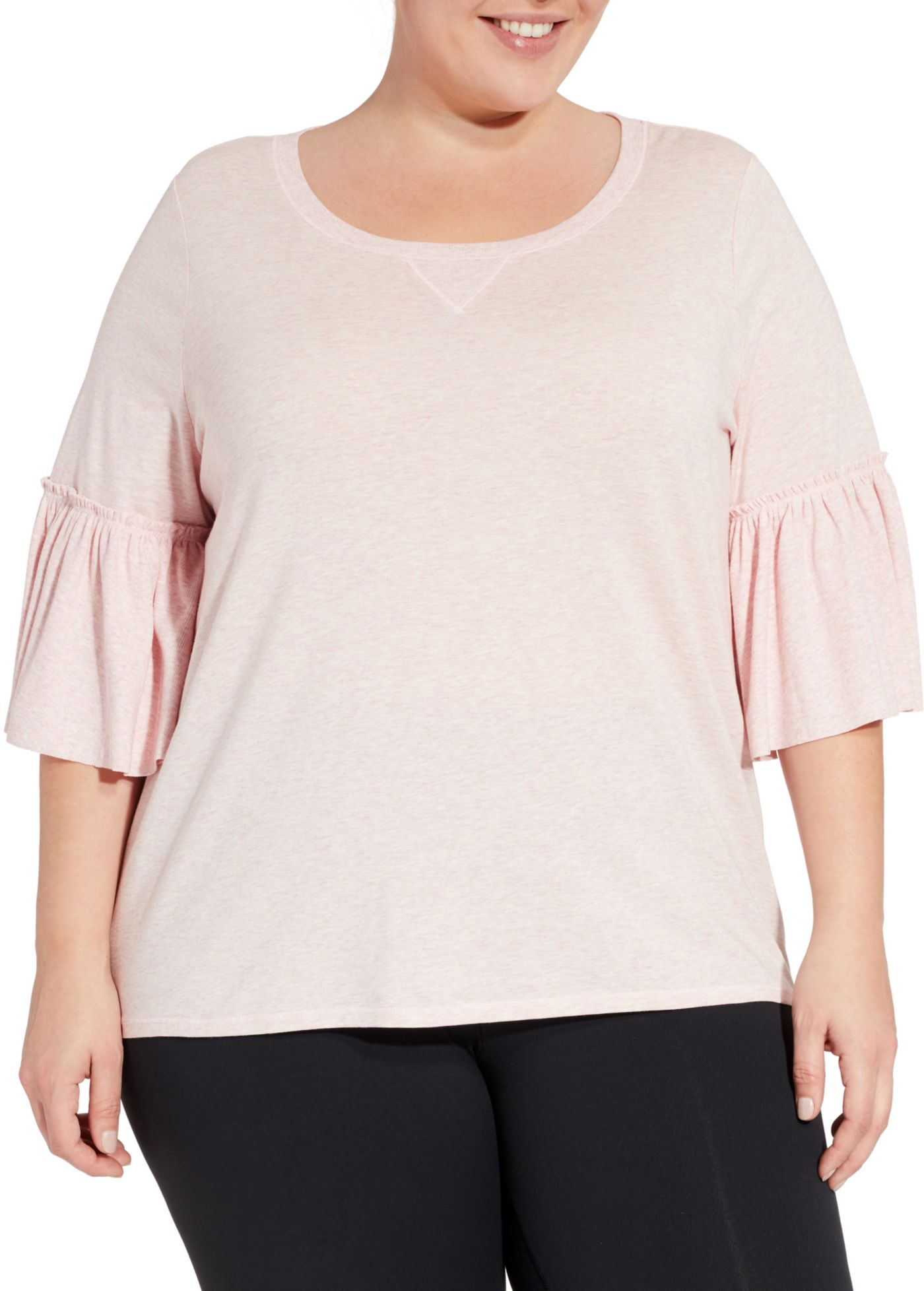 CALIA by Carrie Underwood Women's Plus Size Heather Ruffle T-Shirt