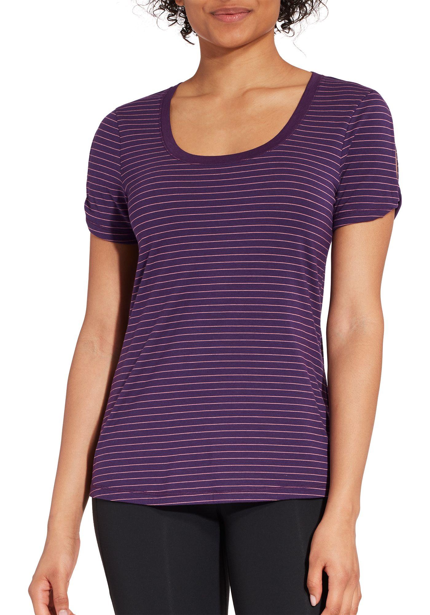 CALIA by Carrie Underwood Women's Stripe Twist Sleeve T-Shirt