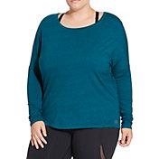 CALIA by Carrie Underwood Women's Plus Size Heather Split Back Dolman Long Sleeve Shirt