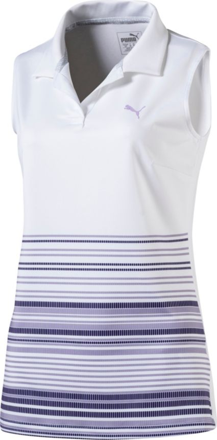 PUMA Women's ½ Stripe Road Map Sleeveless Golf Polo