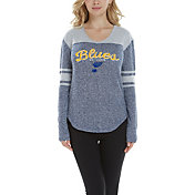 Concepts Sport Women's St. Louis Blues Walk-Off Navy Heathered V-Neck Long Sleeve Shirt
