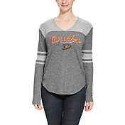 Concepts Sport Women's Anaheim Ducks Walk-Off Heather Grey V-Neck Long Sleeve Shirt