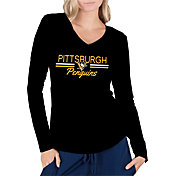 Concepts Sport Women's Pittsburgh Penguins Ladies Black Long Sleeve V-Neck Shirt