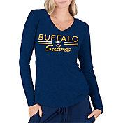 Concepts Sport Women's Buffalo Sabres Ladies Navy Long Sleeve V-Neck Shirt