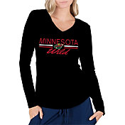 Concepts Sport Women's Minnesota Wild Ladies Black Long Sleeve V-Neck Shirt