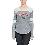 Concepts Sport Women's Minnesota Wild Walk-Off Green Heathered V-Neck Long Sleeve Shirt