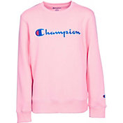 Champion Girls' Heritage Script Crew Neck Pullover