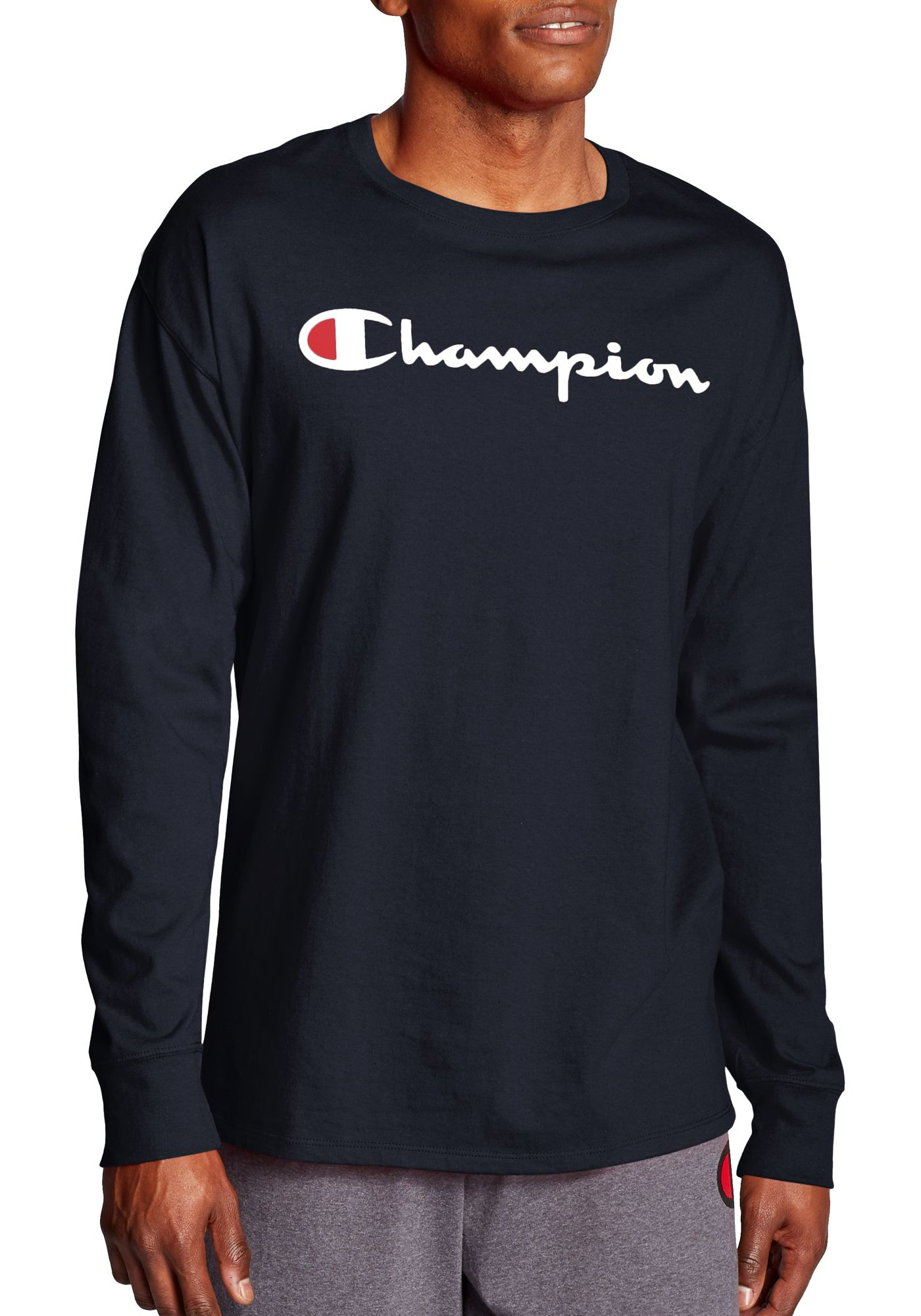 Champion Men's Chest Script Long Sleeve Tee
