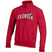 Champion Men's Georgia Bulldogs Red Powerblend Quarter-Zip Shirt