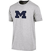Champion Men's Michigan Wolverines Grey Crew Performance T-Shirt