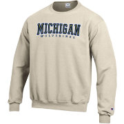 Champion Men's Michigan Wolverines Grey Powerblend Pullover Sweatshirt