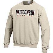 Champion Men's Wisconsin Badgers Grey Powerblend Pullover Sweatshirt