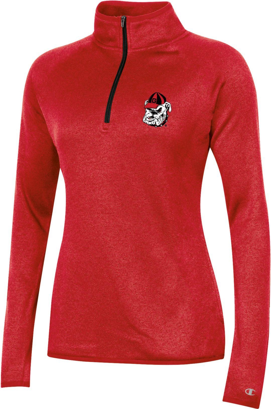 b870a42c Champion Women's Georgia Bulldogs Quarter-Zip Performance Red Shirt ...