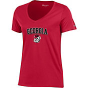 Champion Women's Georgia Bulldogs Red V-Neck T-Shirt