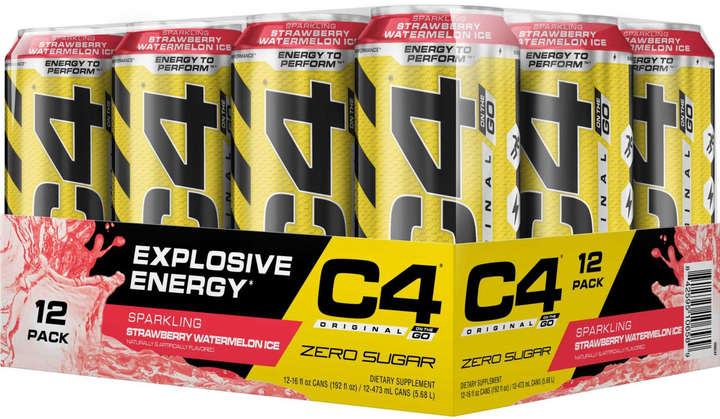 Cellucor C4 On The Go Pre-Workout Drink Sparkling Strawberry 12-Pack