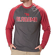 Colosseum Men's Alabama Crimson Tide Grey/Crimson Social Skills Long Sleeve Raglan T-Shirt