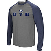 Colosseum Men's BYU Cougars Blue/Grey Social Skills Long Sleeve Raglan T-Shirt