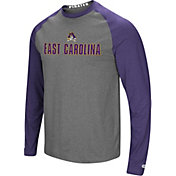 Colosseum Men's East Carolina Pirates Grey/Purple Social Skills Long Sleeve Raglan T-Shirt