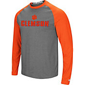 Colosseum Men's Clemson Tigers Orange/Grey Social Skills Long Sleeve Raglan T-Shirt