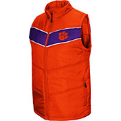 Colosseum Men's Clemson Tigers Orange Red Beaulieu Full-Zip Vest